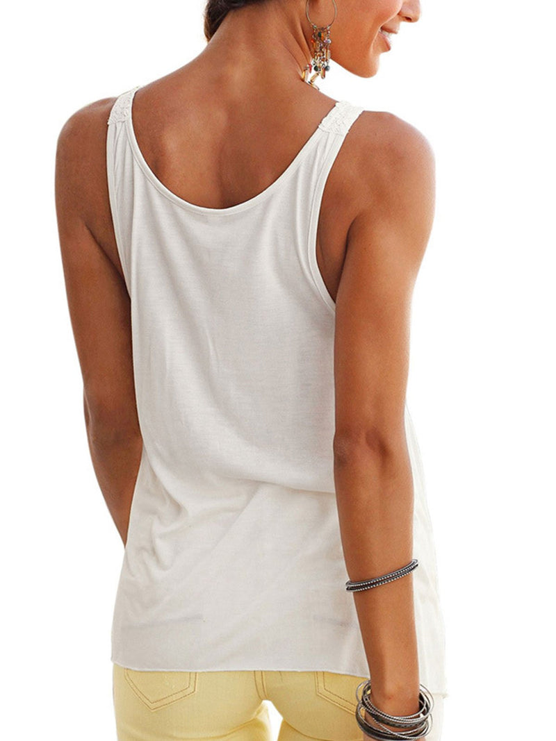 Sleeveless U-Neck Casual Tops  | elledress