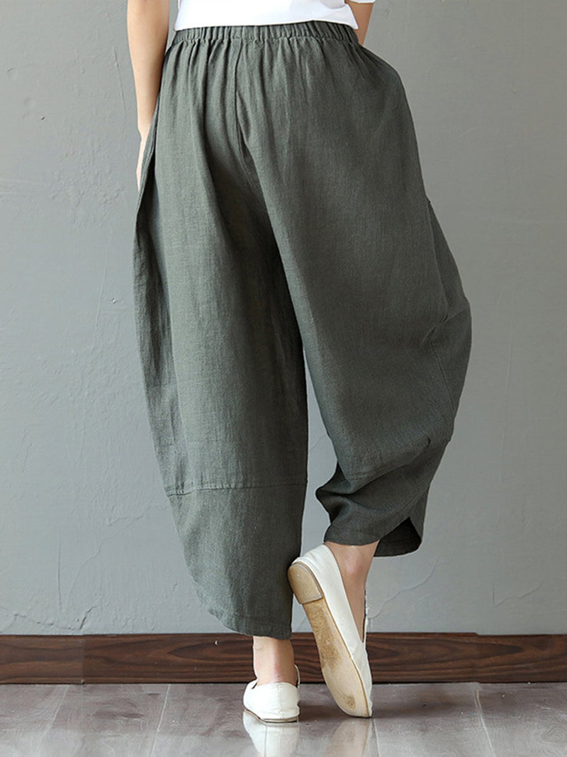 Women Paneled Pockets Casual Cocoon Pants  | elledress