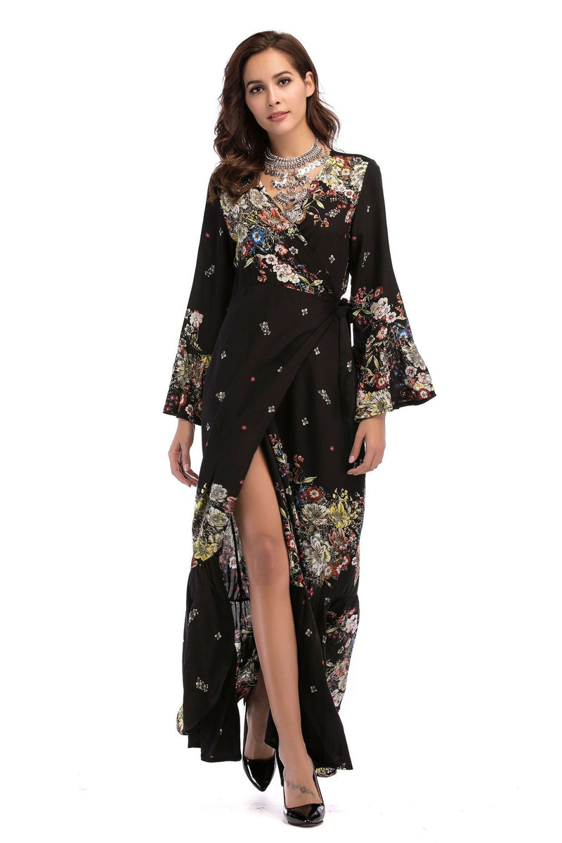 Summer V-collar printed trumpet sleeve dress women's long sleeves  | elledress