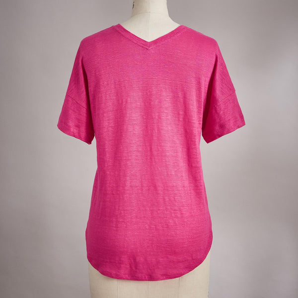 Red V Neck Short Sleeve Cotton Shirts & Tops