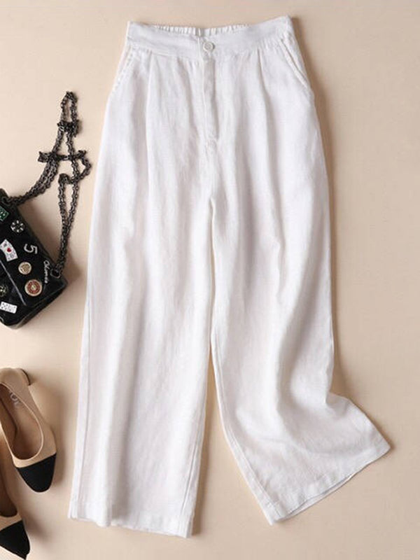 Women Linen Casual Pants Solid  Pockets Elastic Straight Pants  | elledress