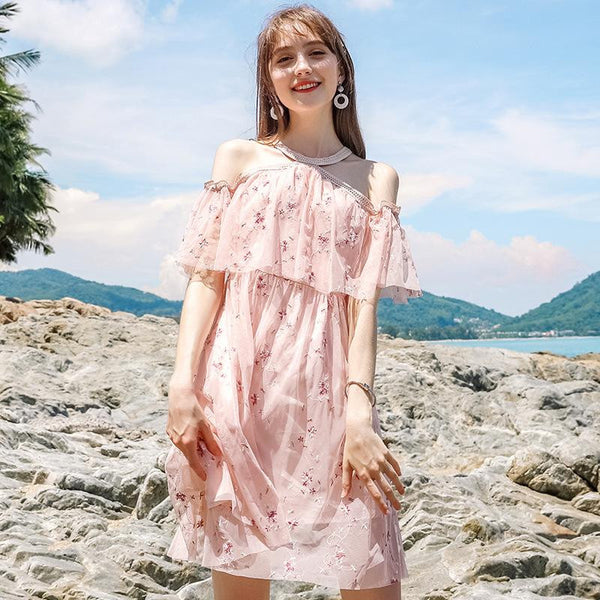 Summer brand Women sexy word chic lady embroidery chiffon Dress  | elledress