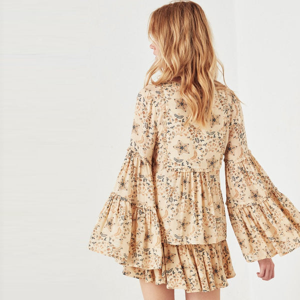 Bohemian five-pointed star flower printed coat flounced horn sleeve V-neck