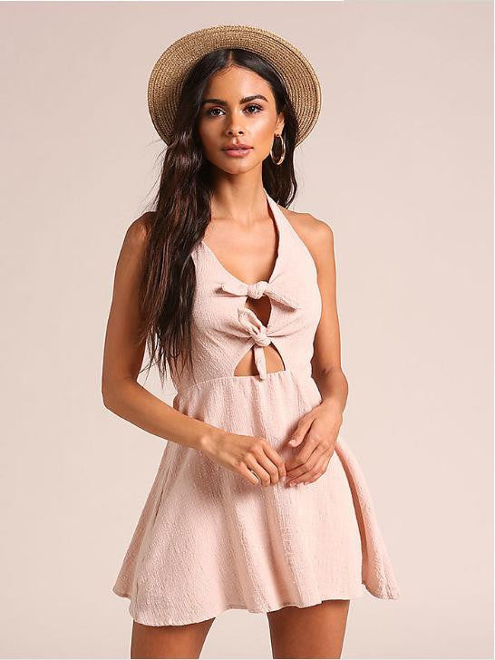2019 European and American new linen tied neck dress  | elledress