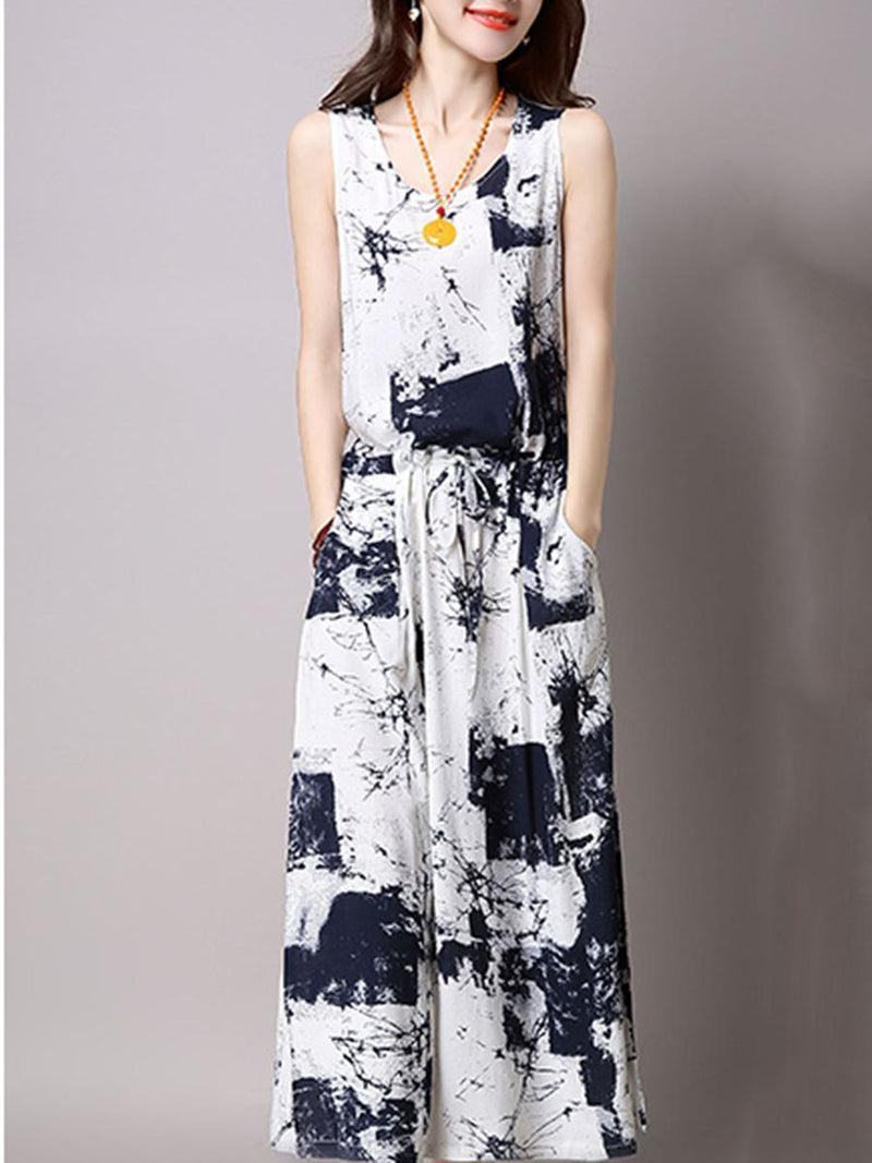 Casual Drawstring Printed Two-Piece Maxi Plus Size Dress
