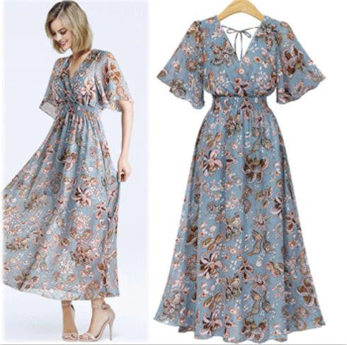Broken flower V collar chiffon long dress