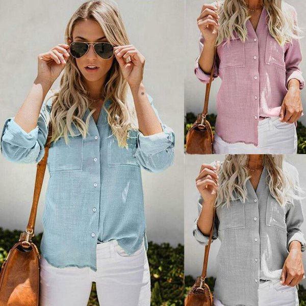 Long sleeve cotton linen shirt  | elledress