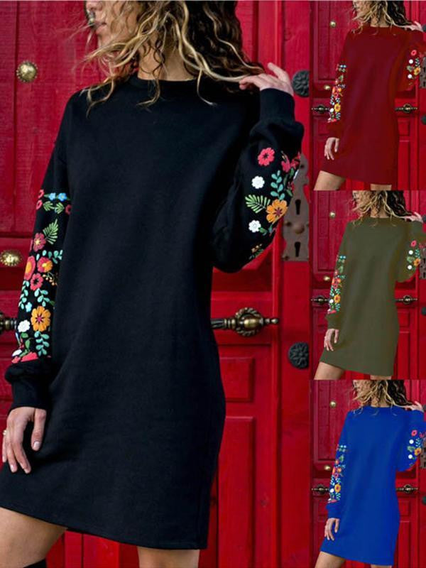 Sexy Round Neck Loose Print Long Sleeve Dress