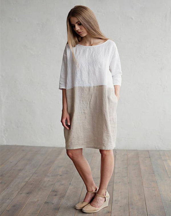 Loose solid color cotton and linen round collar seven-sleeved dress  | elledress