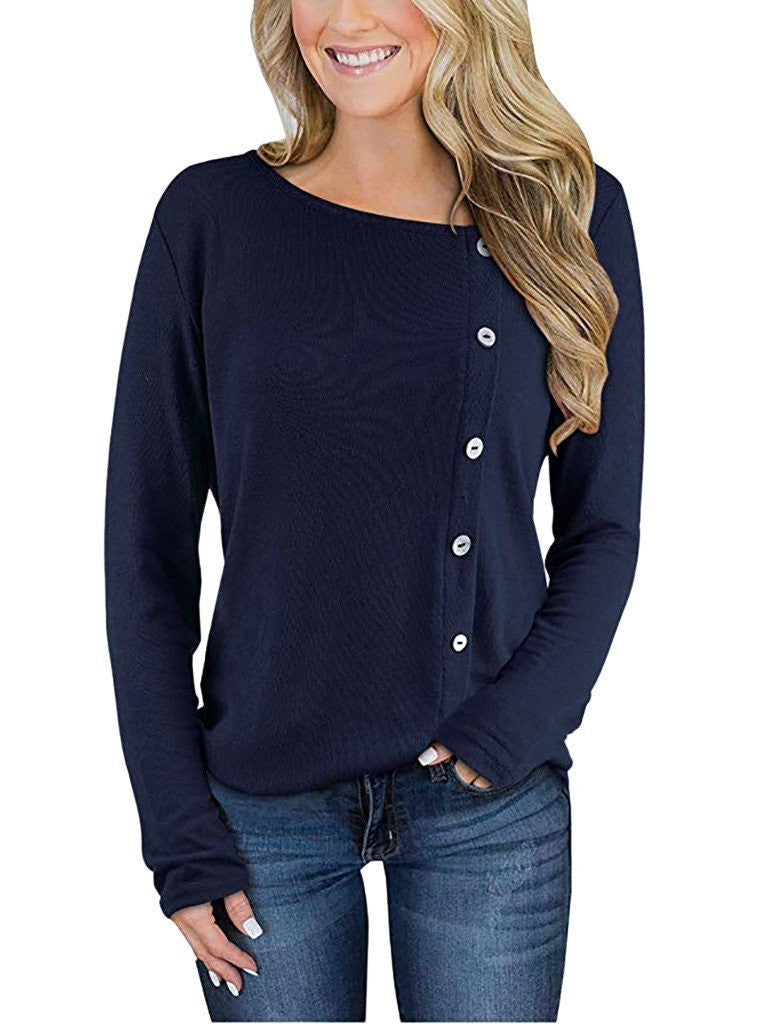 Shift Casual Long Sleeve Round Neck T-Shirts