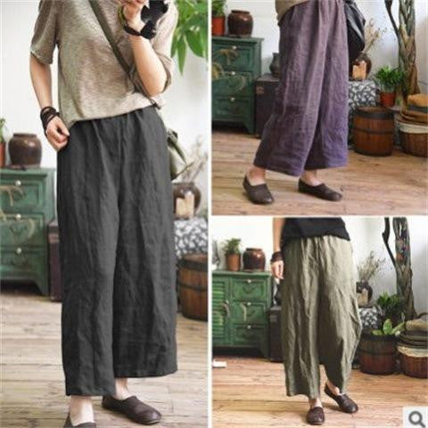 Leisure Simple Temperament Large Size Cotton Flax Loose Nine-cent Broad-legged Pants