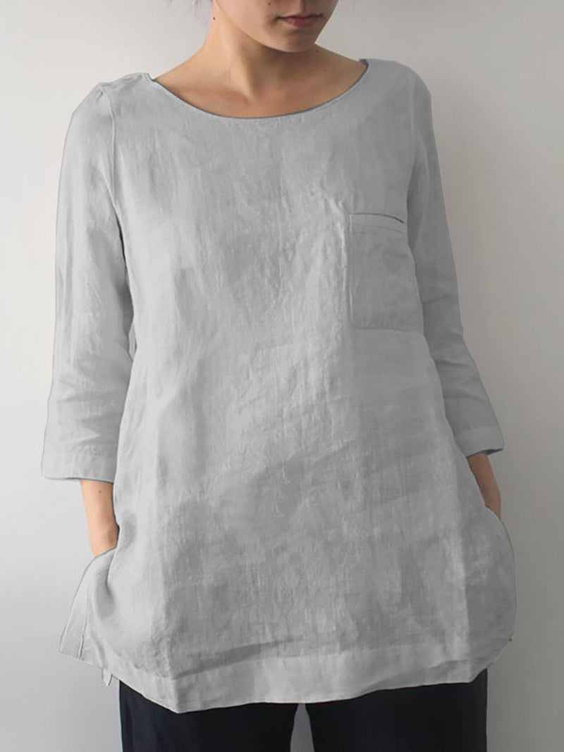 3/4 Sleeve Solid Casual Shirts  | elledress