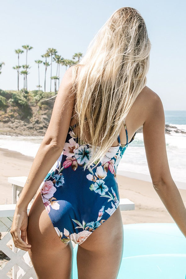 Blue Floral Strappy One-Piece Swimsuit
