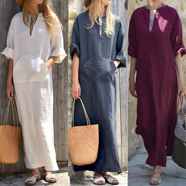 Sexy V-neck long-sleeved split pocket casual loose maxi dress
