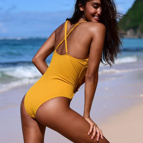 Sexy V neck Ruffle Yellow Solid One-piece Swimsuit