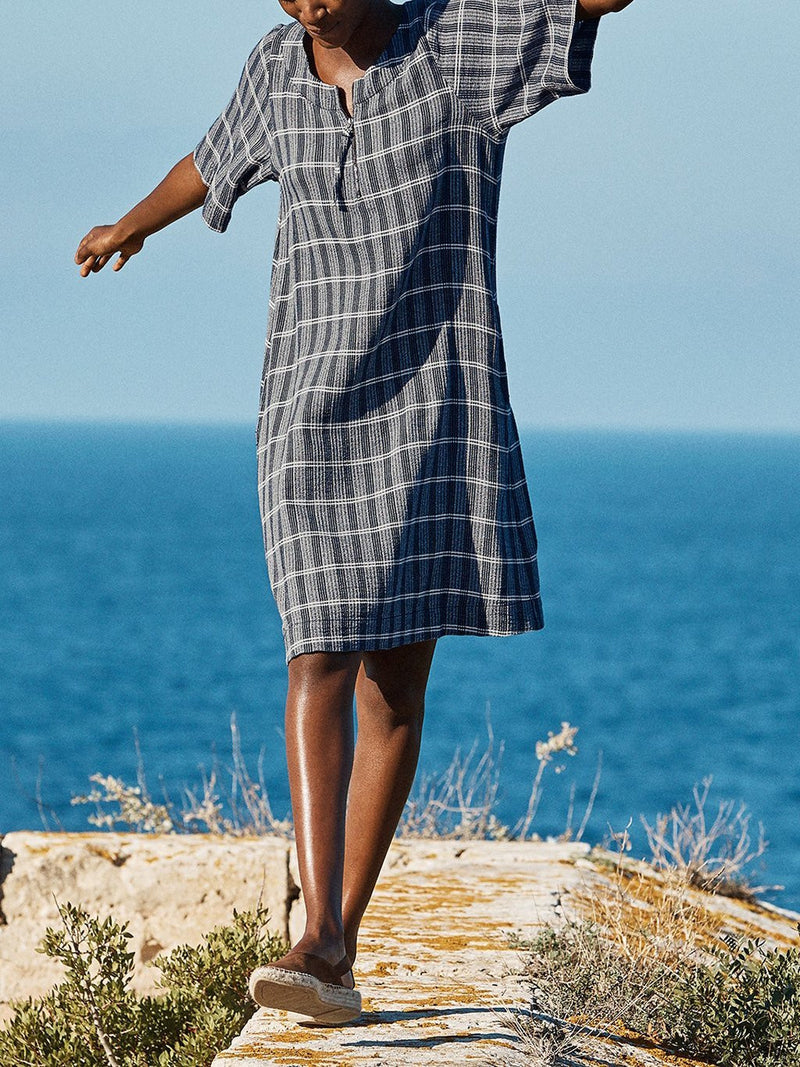 Round Neck Plaid Casual Half Sleeve Dresses