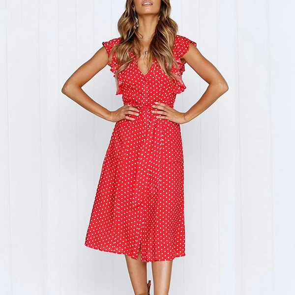 Aproms Boho Polka Dot Print Dress Women Casual Sleeveless V Neck Red SunDress Midi Dress female Beach A-line Dress  | elledress