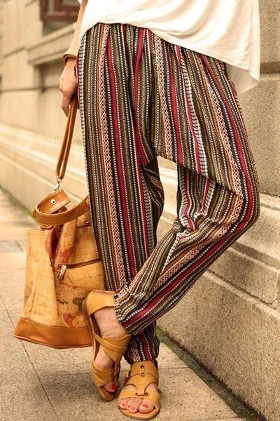 Red Color-Block Casual Cotton-Blend Striped Pants