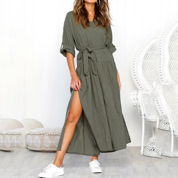 V-neck long-sleeved split-body belt dress