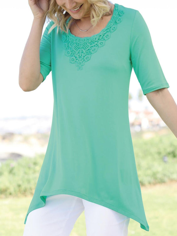 Round Neck Short Sleeve Cotton-Blend Casual Shirts & Tops