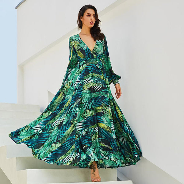 Long Sleeve Dress Green Tropical Beach Vintage Maxi Dresses
