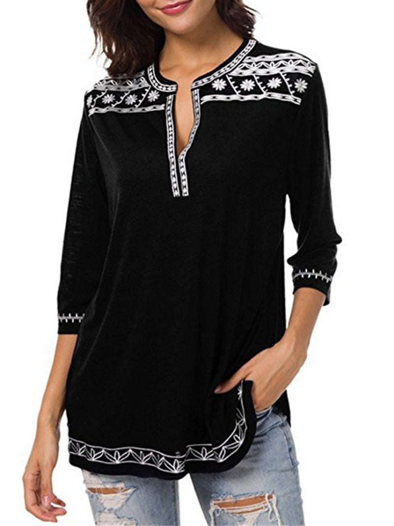 3/4 Sleeve Casual Printed Crew Neck Geometric Plus Size T-Shirt  | elledress