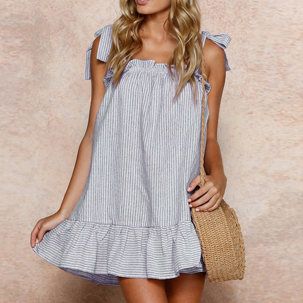 Striped Printed Linen Sling Sleeveless Mini Dress