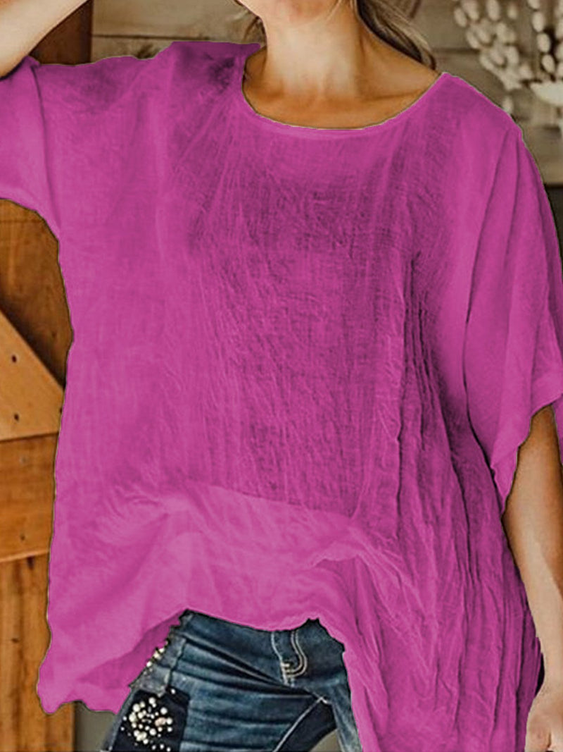 Women Round Neck Linen Tunic Loose Top Shirt
