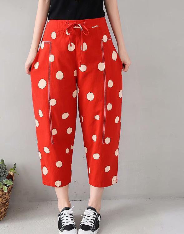 Polka Dots Cotton-Blend Pants