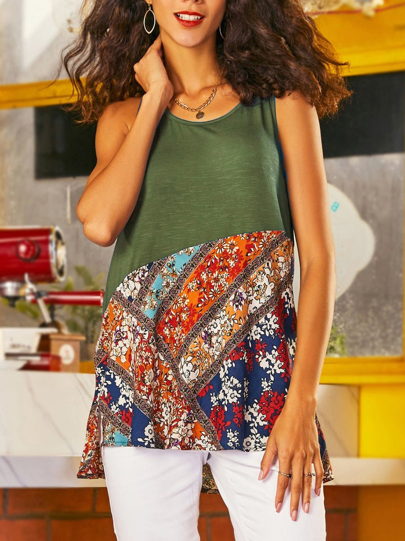 Round Neck Floral Sleeveless Shirts & Tops