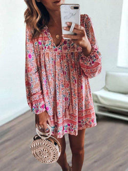 Bohemian long-sleeved dress  | elledress