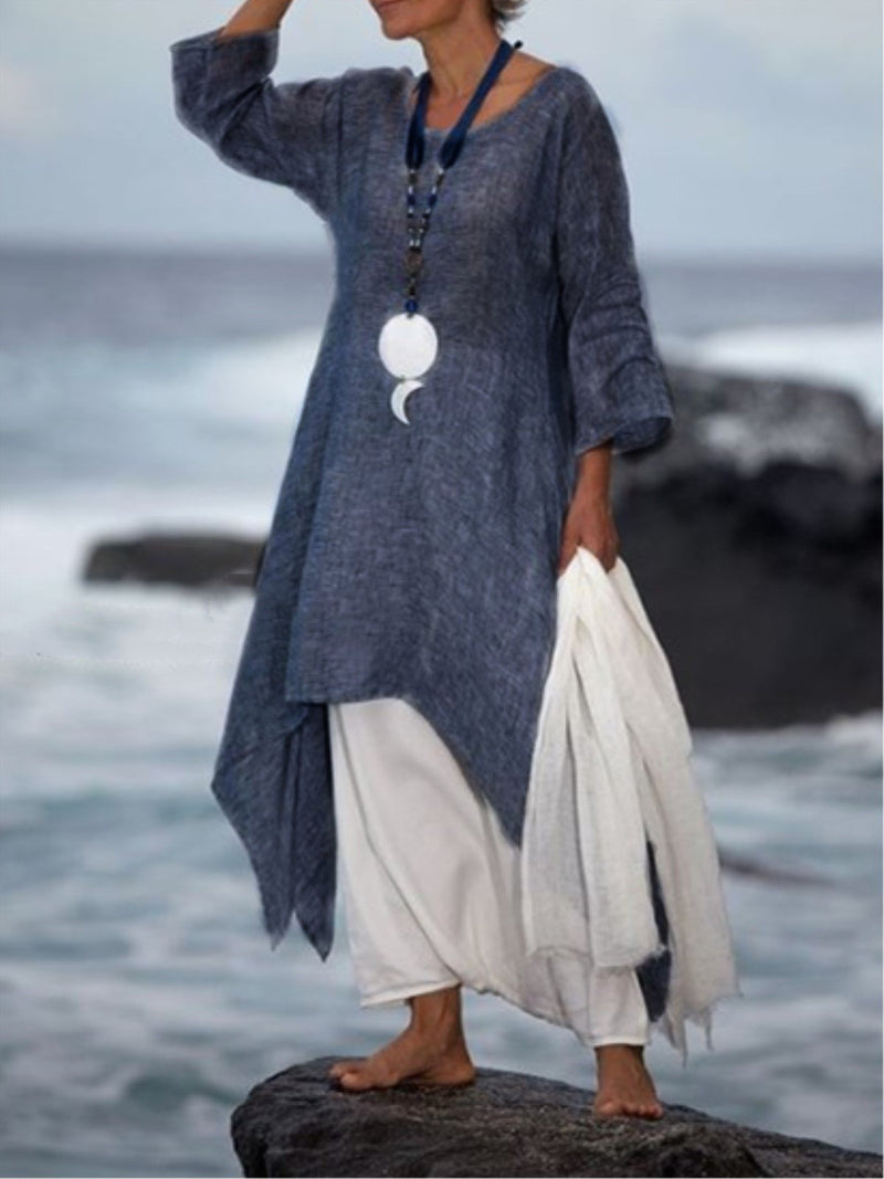 Vintage Asymmetric 3/4 Sleeve Crew Neck Linen Plus Size Dress