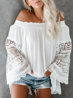 White Paneled Casual Shirts & Tops