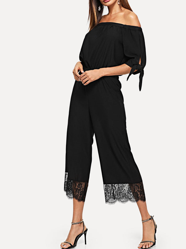 Women Solid Off  Shoulder Strap Half Sleeves Jumpsuit  | elledress