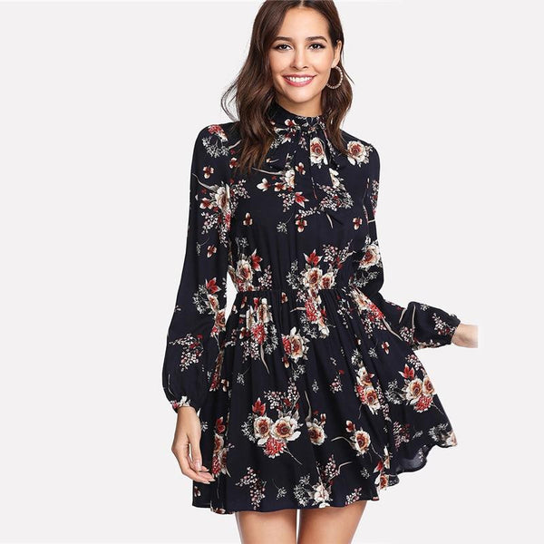 Floral Women Dress Multicolor Elegant Long Sleeve High Waist Line Chic Dress Ladies Tie Neck Dress  | elledress