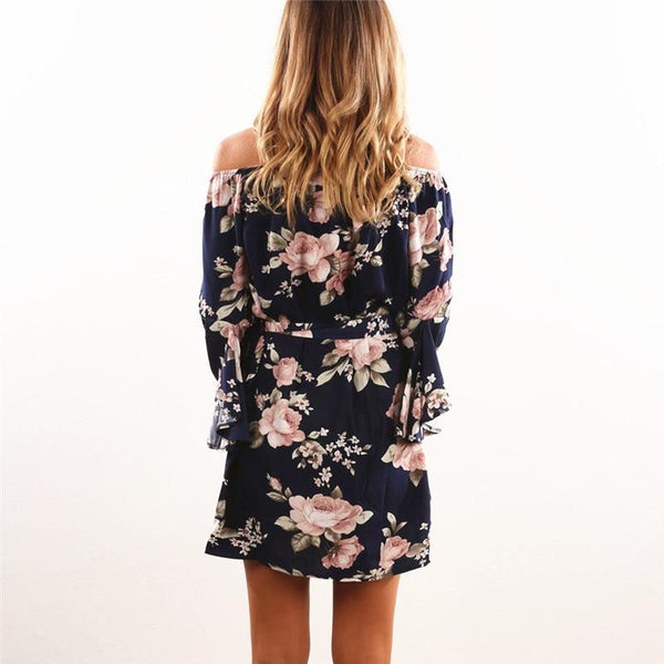 Women Dress Summer Sexy Off Shoulder Floral Print Chiffon Dress Boho Style Short Party Beach Dress de fiesta  | elledress