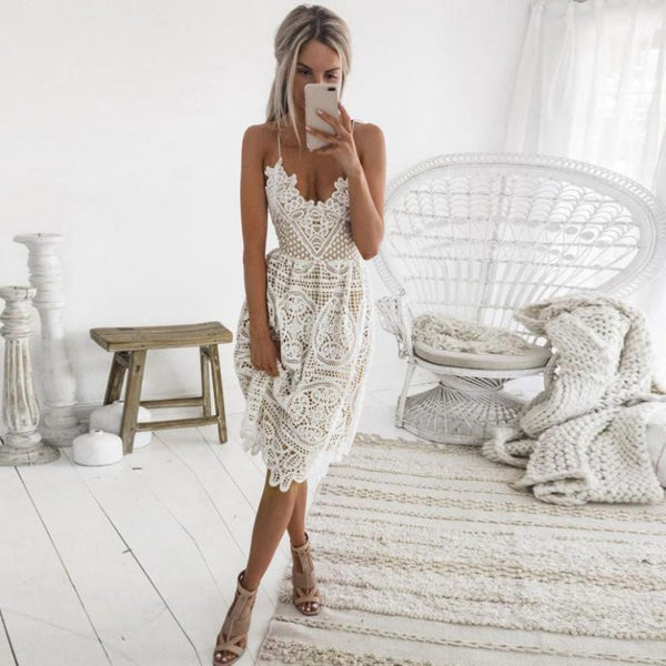 Sexy Party Dress Women Summer Deep V Neck Backless Lace Dresses Fashion Sleeveless Halter Bandage Midi Dress #BF - hertyle
