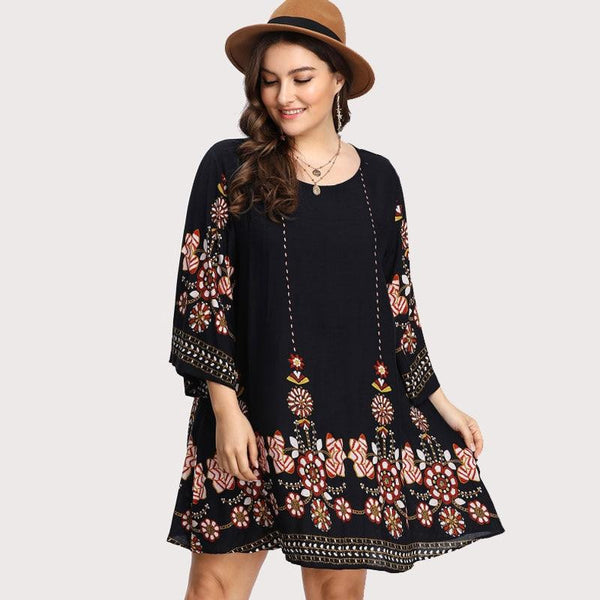 Black Floral Embroidery Tunic Dress Spring Summer Elegant Large Sizes Tribal Flower Print Vocation Dress  | elledress