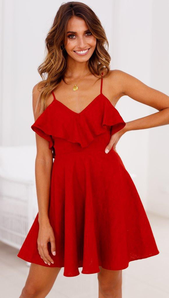 Summer Sexy Dress Women Backless Cross Drawstring Ruffles Bundle Waist V-neck Strap Mini Dress Summer Red Vintage  | elledress