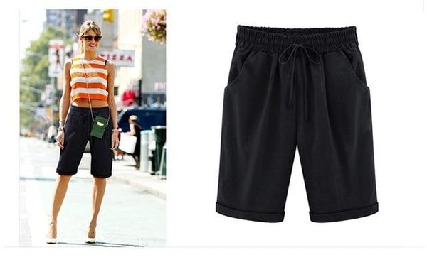Summer Shorts Women Candy Color Elastic Waist Comfortable Cotton Short Female shorts M-6XL 8 Color  | elledress