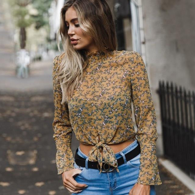 Women Boho Beach Summer crop Tops Long Sleeve Floral Shirt polka dot harajuku Blouse