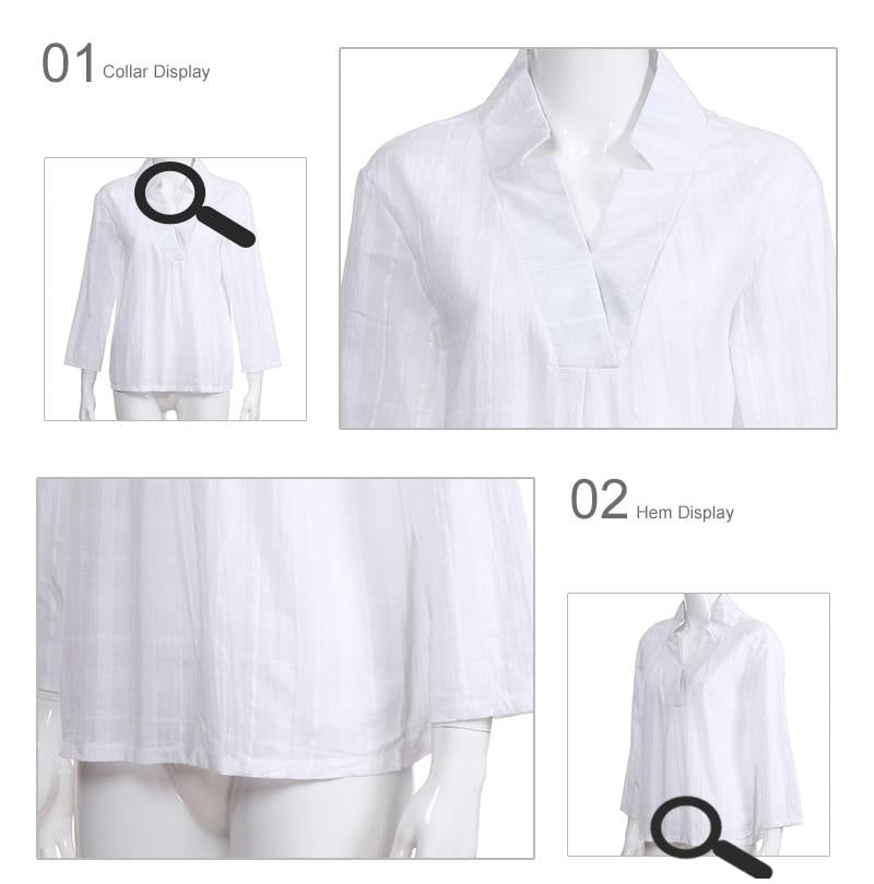 Women White V-neck Long Sleeve Shirt Top Office Lady Women Tops and Blouses Black Spring Star Shirts