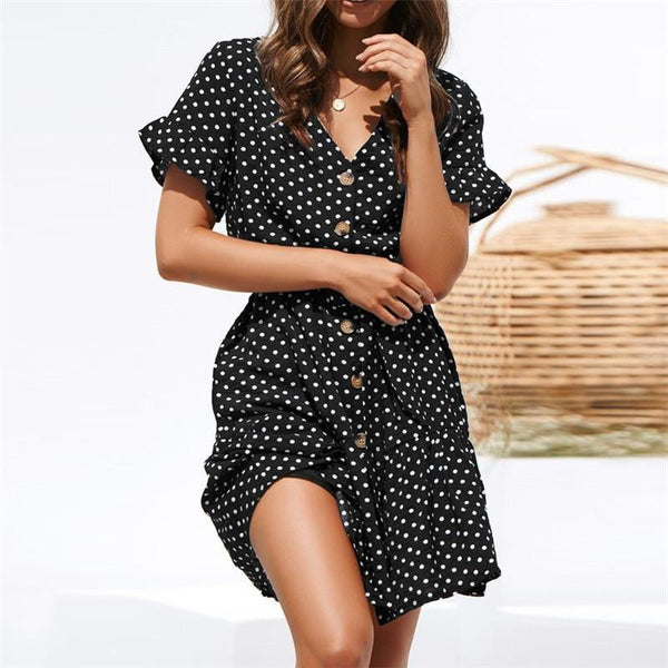 2019 Summer Short Dress Women Short Sleeve Beach Dot Print Dress Sexy V Neck Button Chiffon Mini Party Dresses Ladies Vestidos - hertyle