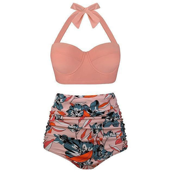 High waist printed push up swimsuit set