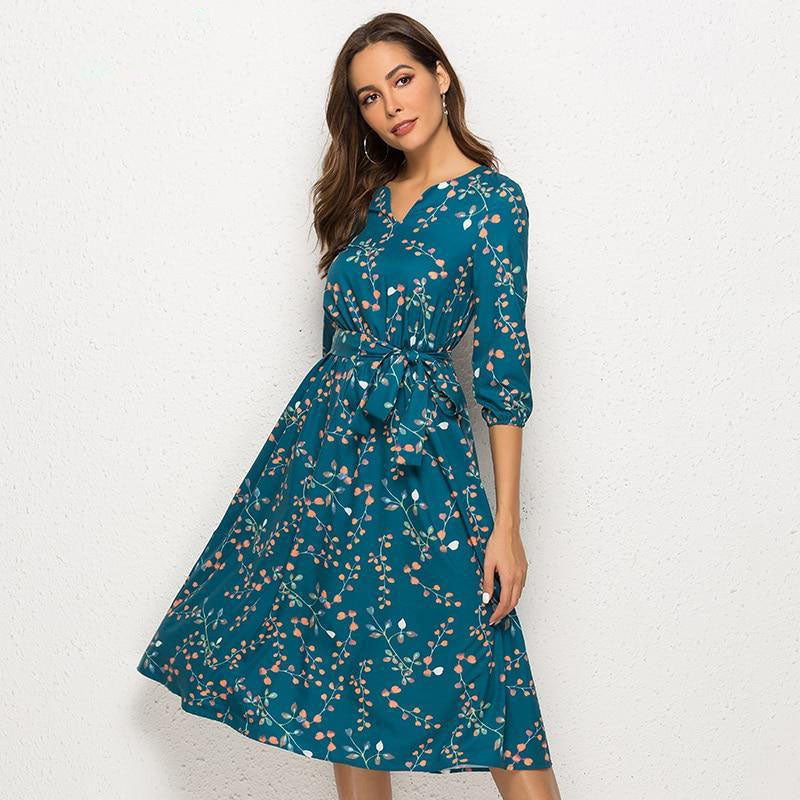 Spring Summer Casual Dress Women V Neck 3/4 Sleeve Line Mid-Calf Print Dress Female Elegant Waist Party