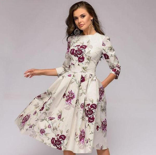 A-line Dress Vintage printing Three Quarter Sleeve women Slim Dress  | elledress