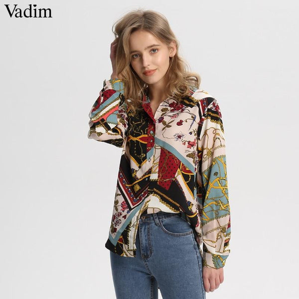 Women vintage Geometric pattern blouses long sleeve turn down collar pleated shirts female casual wear chic tops