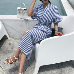 Women Summer Cotton Blue Striped Bandage Split Long Dress Long Bodycon