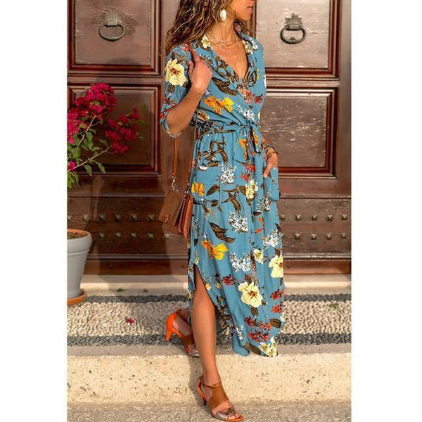 Bohemian Printed Belt Three Quarter Sleeve V neck Straight Casual Dress