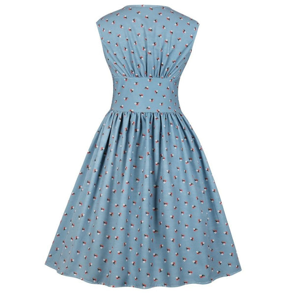 Women Summer Vintage Floral Print V Neck Sleeveless Pin Up Button Fly Party Rockabilly Retro Dress  | elledress